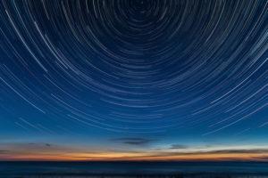 Estonia, Baltic Sea coast, Saaremaa, night, start trails