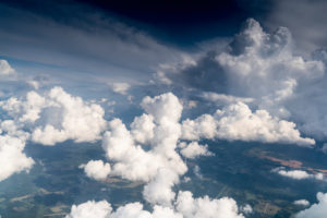 Estonia, Flight, Aerial View, Forest and Fields, Clouds, Cumulus congestus, Cumulus calvus