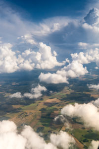 Estonia, flight, aerial view, forest and fields, clouds, cumulus congestus