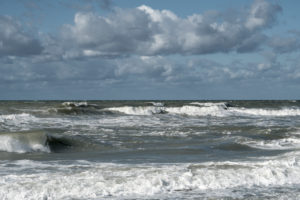 Baltic Sea, Fischland, Darß, storm surge, waves and clouds