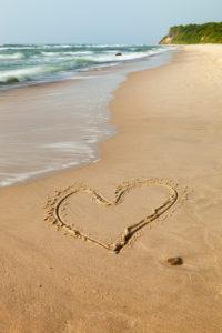 Baltic Sea, island of Rügen, Cape Arkona, beach, heart in the sand, symbol love