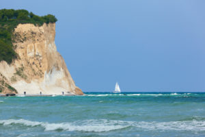 Baltic Sea, island of Rügen, Cape Arkona, cliffs, walkers and sailboat