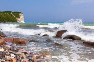 Rügen, Kap Arkona, Steilküste, Strand, Welle, Gischt