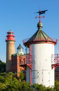 Rügen, Kap Arkona, drei Leuchttürme (Leuchtfeuer Ranzow, neuer Leuchtturm, Schinkelturm)