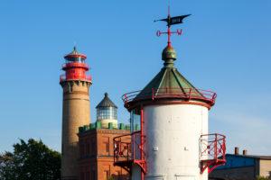 island of Rügen, Cape Arkona, three lighthouses (Beacon Ranzow, new lighthouse, Schinkelturm)