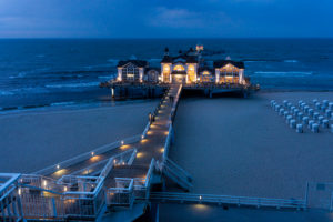 island of Rügen, baltic resort Sellin, pier, evening light, blue hour