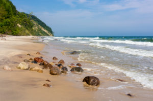 island of Rügen, coastal path between Sellin and Binz, beach with stones