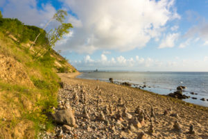 Baltic Sea, island of Rügen, cliffs at Sellin, group of cairns, morning mood