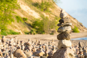 Baltic Sea, island of Rügen, coast at Sellin, cairn, morning mood
