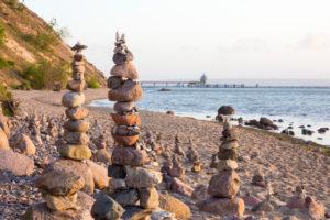Baltic Sea, island of Rügen, coast at Sellin, cairn, morning mood