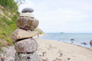 Baltic Sea, island of Rügen, coast at Sellin, beach, cairn