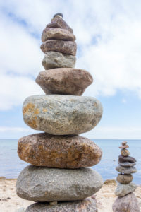Baltic Sea, island of Rügen, coast at Sellin, beach, cairn