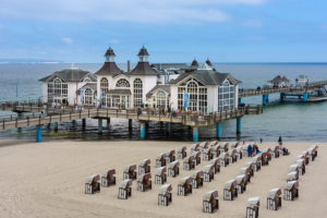 island of Rügen, baltic resort Sellin, pier and beach chairs