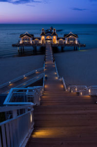island of Rügen, baltic resort Sellin, pier, stairs, lit, blue hour