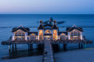 island of Rügen, baltic resort Sellin, pier, restaurant, illuminated, blue hour