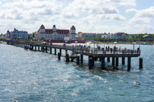 Baltic Sea, seaside resort Binz, kurhaus and pier with steamer jetty