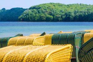 island of Rügen, baltic resort Binz, beach chairs, netting, detail