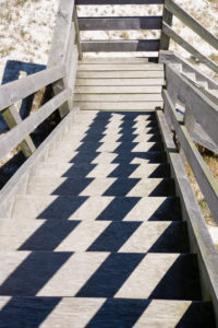 Baltic Sea, Western Pomerania Lagoon Area National Park, wooden staircase, structure through light and shadow