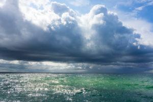 Ostsee, Fischland, Darss, Seebad Wustrow, Seeblick mit dramatischen Wolken
