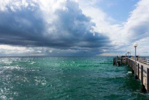 Baltic Sea, Fischland, Darss, seaside resort Wustrow, pier, dramatic clouds