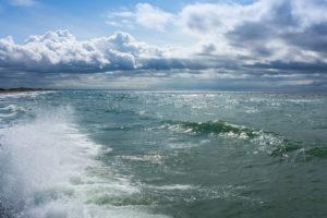 Baltic Sea, Fischland, Darss, seaside resort Wustrow, beach, view from the pier, breakwater, spray