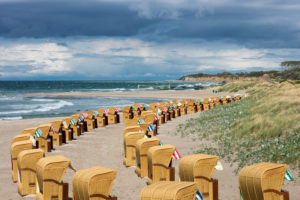 Baltic Sea, Fischland, Darss, seaside resort Wustrow, beach with beach chairs