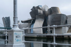 """Spain, Bilbao, Guggenheim Museum, protest for independence of the Basque Country: """"This is not Spain"""""""