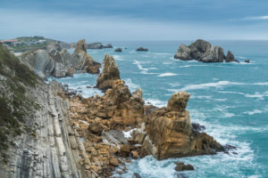 Spain, north coast, Cantabria, Costa Quebrada, Geopark, stormy mood