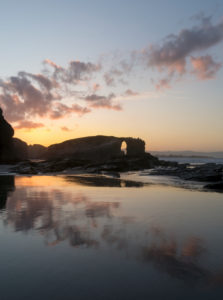 Panoramic portrait format, Spain, north coast, Galicia, national park, cathedral beach, Playa de las Catedrales, natural monument, evening mood