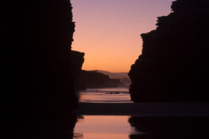 Spain, north coast, Galicia, national park, cathedral beach, Playa de las Catedrales, natural monument, evening mood, silhouette