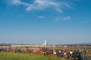 Berlin, Tempelhofer Feld, sky without contrails during corona pandemic with restricted air traffic, unused catcars