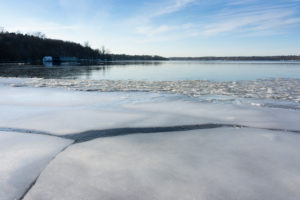 Berlin, Wannsee, view to Schwanenwerder Island, ice floes