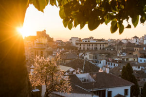 Granada (Spain), Mirador de la Churra, view to the Albaicin district, tree blossom, sun rays