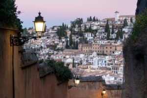 Granada (Spain), Cuesta del Rey Chico, ascent, morning mood, view Albaicin