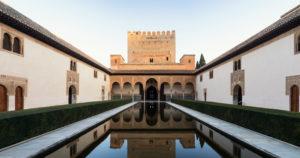 Spanien, Granada, Alhambra, Palacios Nazaries, Patio de Arrayanes, Myrtenhof, Panorama, Spiegelung