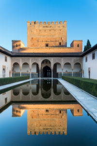 Granada (Spain), Alhambra, Palacios Nazaries, Patio de Arrayanes, Myrtenhof, reflection