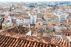 Spain, Granada, center, Realejo, view from above, tiled roofs