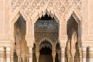 Spanien, Granada, Alhambra, Palacios Nazaries, Patio de los Leones, Löwenhof, arabische Epigrafik