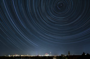 Berlin, view to the north, star trails, star trails, long exposure, autumn sky