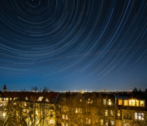 Berlin, view to the east, star trails, star trails, long exposure, composing