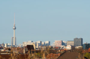 Berlin, distant view to the east, television tower, high-rise buildings on Leipziger Strasse