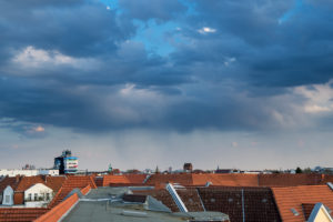 Severe weather over Berlin-Steglitz, clouds, rain, beer brush