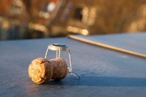 Easter on the roof terrace, champagne corks in the evening light