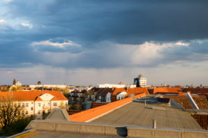 Storm over Berlin, clouds, rain, view over the roofs of Steglitz
