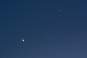 "Sickle moon, crescent moon: ""The old moon in the arms of the young moon"", Venus"