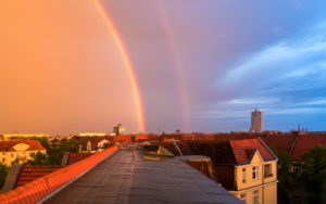Over the roofs of Berlin, rainbow, side rainbow, Alexander's dark ribbon