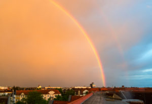Berlin, roof terrace, rainbow and side rainbow