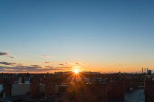 Berlin, Sommer, Fernblick Richtung Nordwesten, Sonnenuntergang