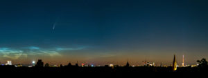 "Comet ""Neowise"" (C / 2020 F3) and glowing night clouds (NLC) over Berlin, panorama"