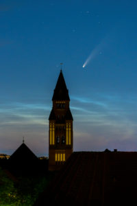 "Comet ""Neowise"" (C / 2020 F3) over Berlin, church tower"